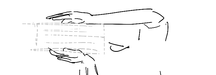 hands gesturing as if a stack of documents is inbetween